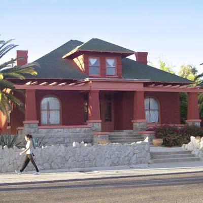 an old Spanish Revival bungalow in the West University Neighborhood, Tucson, Arizona