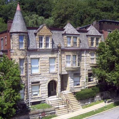 an Italianate rowhouse in Wheeling, West Virginia