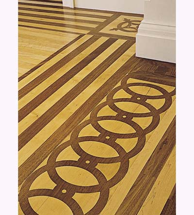 Italianate townhouse inlaid wood floor