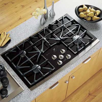 built-in gas cooktop heats with gas but is easier to clean