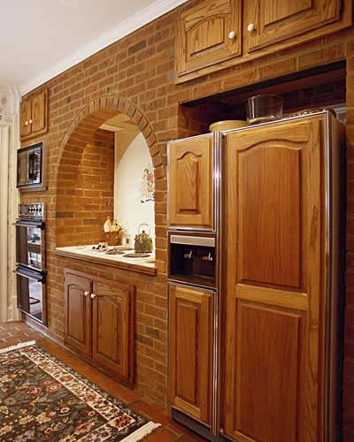 warm and comforting brick kitchen
