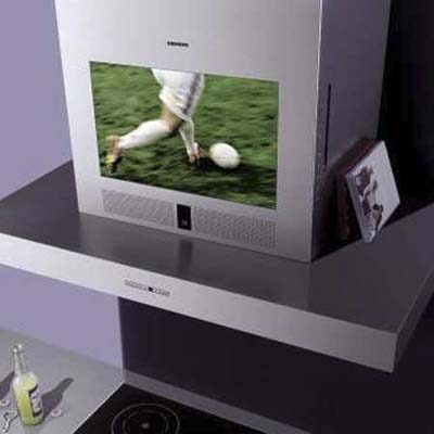range hood with a 17-inch, integrated LCD tv that can play both live broadcasts and DVDs