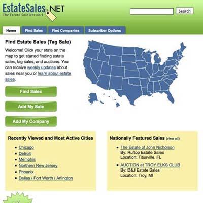 EstateSales.net lists estate sales by locale