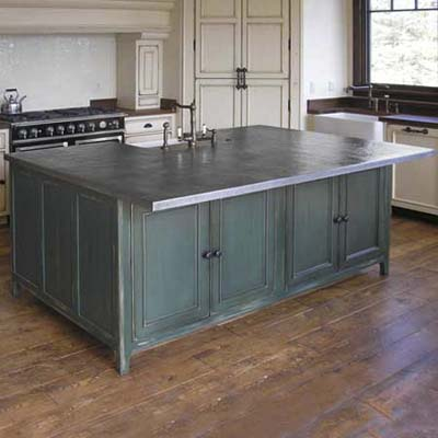 Handcrafted Metal Inc. fabricates low-maintenance zinc or pewter countertops