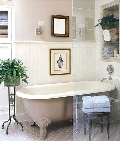 Bathtub and nuetral walls in vintage bathroom