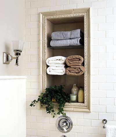 Storage niche in vintage-style bathroom