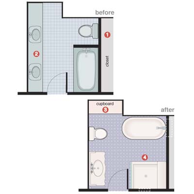 Before and after floorplans for vintage-style bathroom