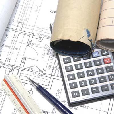 ruler, calculator, building plans
