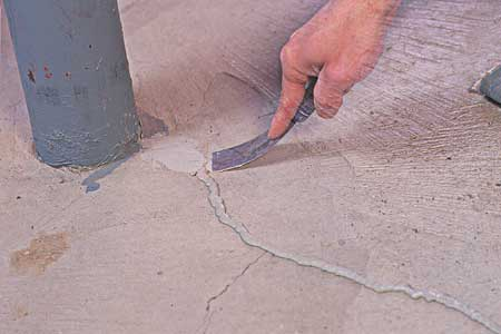 sealing a crack in concrete