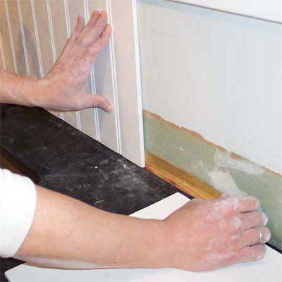 dry fit and shim the backsplash