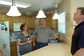 Family in Kitchen with Pendant Lights