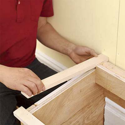 attaching the cap and trim to the mudroom bench box