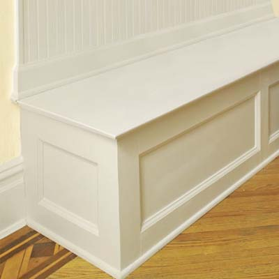 painting the mudroom bench
