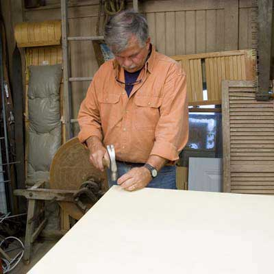Tom Silva building the top of the sideboard