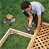 assemble and attach side panel frames and lattice