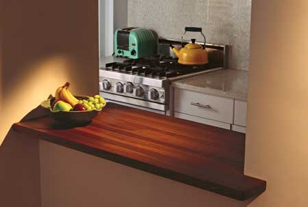 a sleek modern kitchen offset with the warm tones of a butcher-block countertop