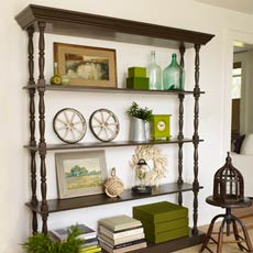 a custom-made open shelving unit