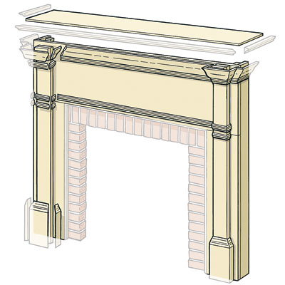 diagram showing pieces to cut to build a wood surround fireplace shelf mantel