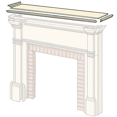 attaching the shelf to build a wood surround fireplace shelf mantel