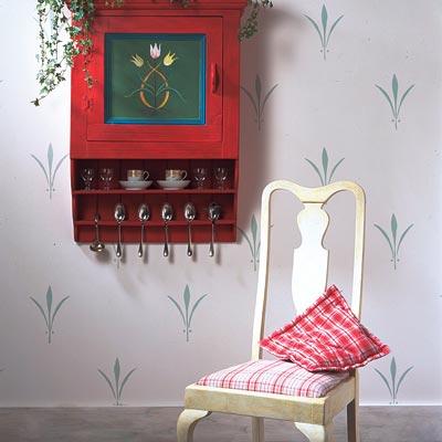 a sprig motif stencil on a wall