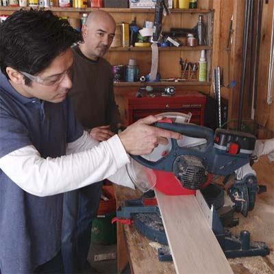 using a miter saw to cut the apron pieces and cleats for building a display coffee table
