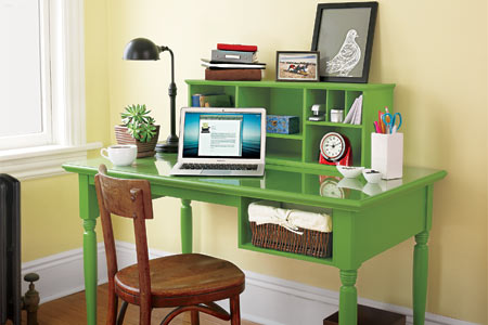 a finished desk with a storage hutch