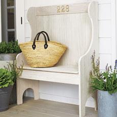 a pickled oak bench