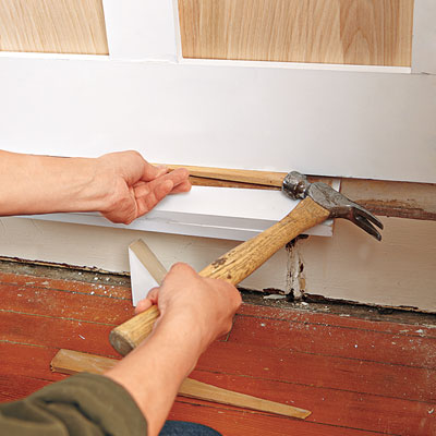 installing the wainscoting bottom rail