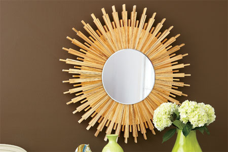 sunburst mirror frame made from wood shims