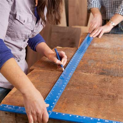 determine the length of the top to build a table from salvage beams