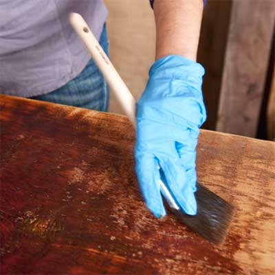 final steps to build a table from salvage beams