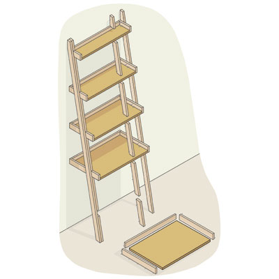 exploded view of a ladder bookshelf with shelves highlighted