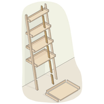 exploded view of a ladder bookshelf with cleats highlighted