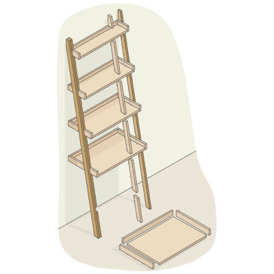 exploded view of a ladder bookshelf with uprights highlighted