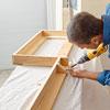 assembling a hardwood frame for kitchen cabinet crown molding