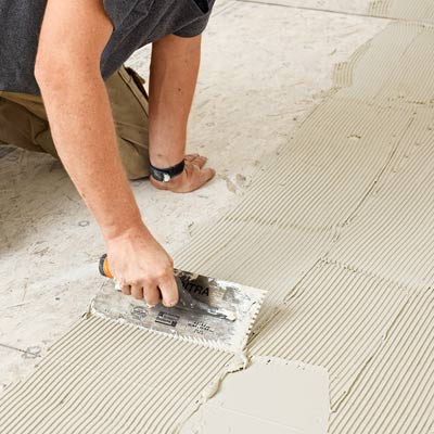 how to lay a stone-tile floor spread out thinset