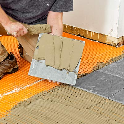 how to lay a stone-tile floor lay the slate tiles