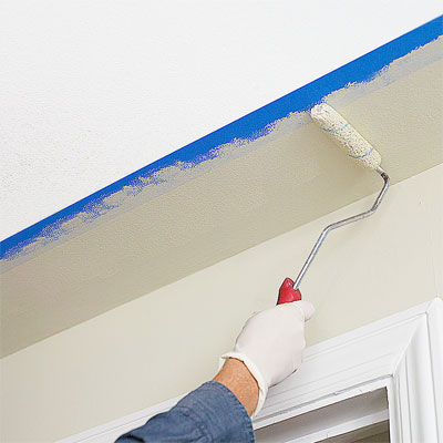 Measure, mark, tape off, and paint the Ceiling Bands to Use blocks and bands of Color to Mimic the Look of Trim