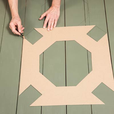 moving the template to continue marking the pattern