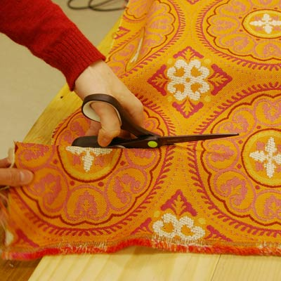 cutting upholstery fabric with scissors
