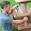rolling outdoor grill table secure shelf slats