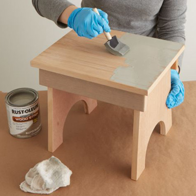 give look a sunbleached look apply wood stain to stool
