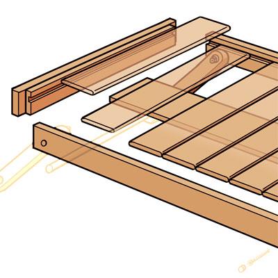 Install the Slats to Build Folding Serving Tray