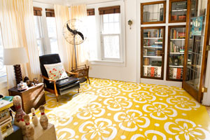 a finished painted floor with stenciled pattern