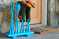 blue painted boot rack built with stair balusters