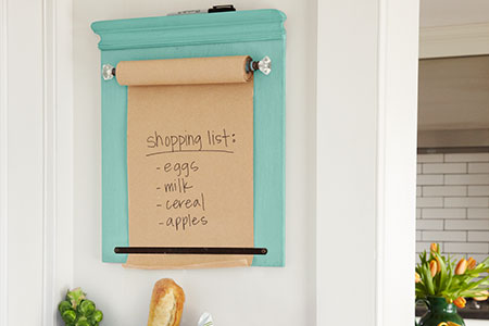wall-mounted shopping list