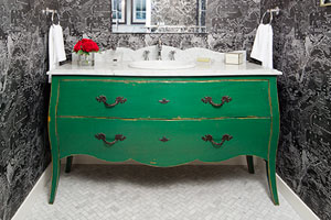a dresser re-purposed as a vanity