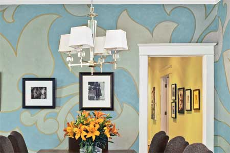 Add style by painting an oversized pattern on your walls