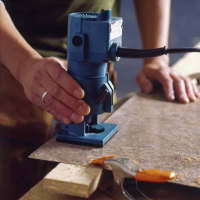 cut the laminate with a trim router
