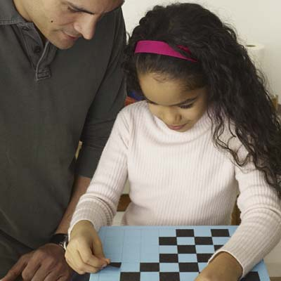 girl makes the checkerboard